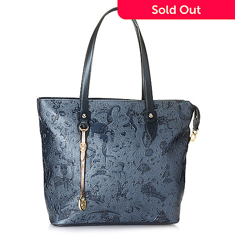 714 991 Piero Guidi Embossed Magic Circus Golden Age Collection Zip Top Tote Bag