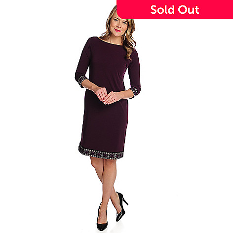 733044817f219 Kate   Mallory® Stretch Knit 3 4 Sleeved Embellished Trim Dress - EVINE
