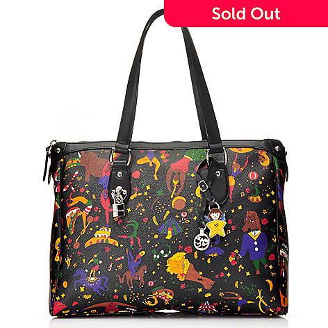 860a07511e02 715-695- Piero Guidi Coated Canvas Magic Circus Collection Zip Top Shopper  Tote Bag