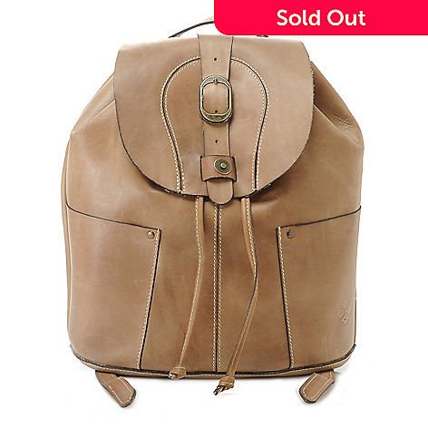 28d0e18e7b 715-821- Patricia Nash Smooth Leather Flap-over   Drawstring Backpack