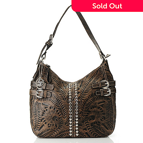 96e3bd8eca47 American West Hand-Tooled Leather Zip Top Stud Detailed Hobo Handbag