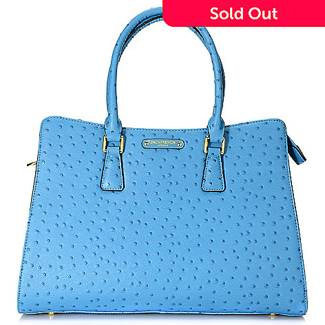 716-171- Jack French London Ostrich Embossed Leather Double Handle Shopper Tote  Bag w 9819cffe2079a