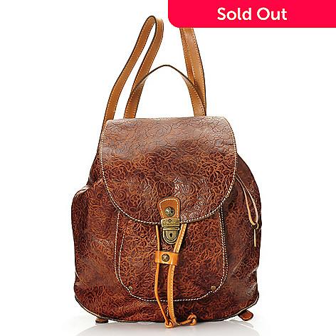 f85ec2c085 716-185- Patricia Nash Rose Embossed Leather Drawstring & Flap-over Backpack