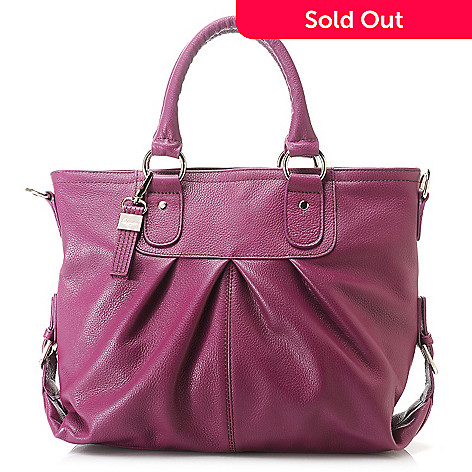 58b1d398f5 716-320- Buxton Pebbled Leather Double Handle Pleated Shopper Tote Bag w   Strap