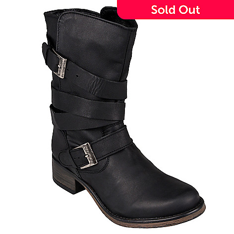 430961c45a9 Steve Madden Leather Belting & Buckle Motorcycle Ankle Boots