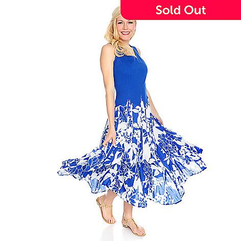 baae7e1c8c69 716-386- OSO Casuals® Cotton Gauze Sleeveless Convertible Printed Maxi Dress