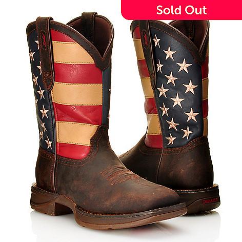 9a19d599bca Durango Men's Full Grain Leather Pull-on Square Toe American Flag Mid-Calf  Boots