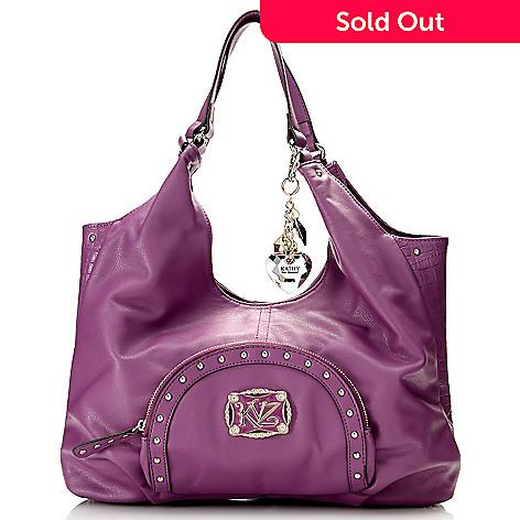 716 856 Kathy Van Zeeland Studded Zip Around Front Pocket Per Handbag
