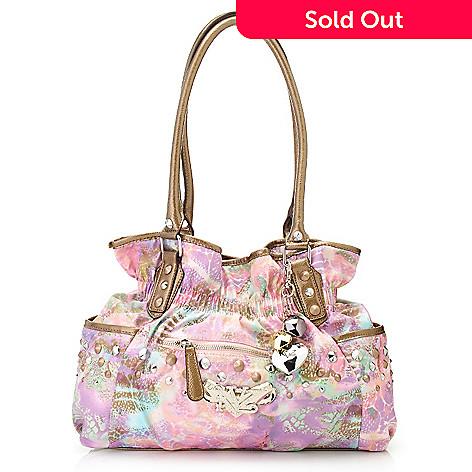 716 862 Kathy Van Zeeland Double Handle Gathered Cone Studded Per Handbag