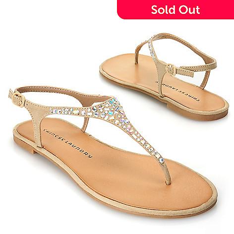 9396e958776 717-050- Chinese Laundry Rhinestone Embellished Thong Sandals w  Heel Strap