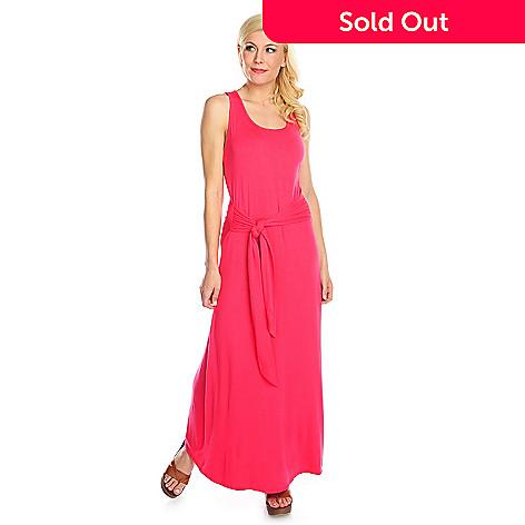 e10bd28f26d 717-127- Cassandra Stretch Knit Sleeveless Self-Tie Belted Maxi Dress