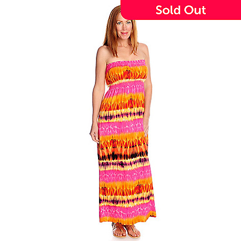 fac88c694d0fd 717-192- One World Printed Knit Strapless Smocked Waist Bandeau Maxi Dress