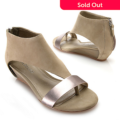 ec15b40f108ada 717-244- Matisse Suede Leather Wrapped Back Zip Demi Wedge Thong Sandals