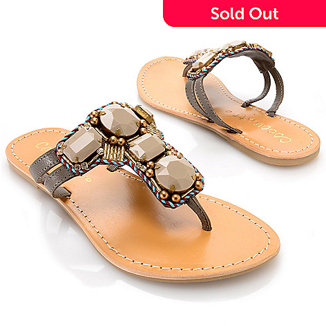 d816870791e 717-254- Matisse Leather Rhinestone Embellished   Bead Detailed Thong  Sandals
