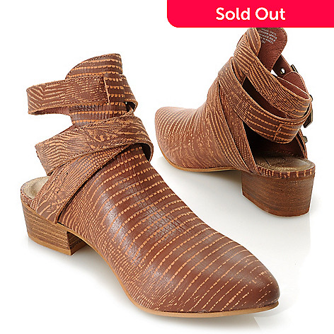 9a13fba0e7d 717-286- Matisse Leather Reptile Print Wrap Around Open Back Ankle Boots