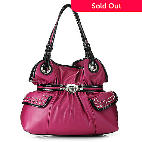 717-289- Kathy Van Zeeland Double Handle Stud   Rhinestone Detailed Belted Shopper  Handbag da392b82725c0