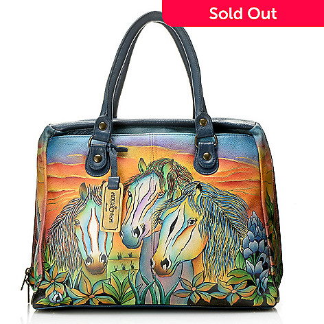 06bde467c1 718-007- Anuschka Hand-Painted Leather Double Handle Zip Around Large  Satchel