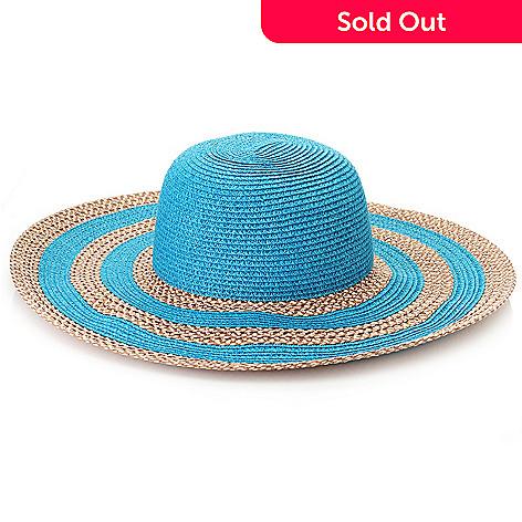 16530534 718-155- Magid® Woven Straw Striped Wide Brim Floppy Hat