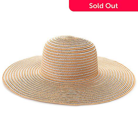 baa3bc0b 718-157- Magid® Metallic Woven Straw Striped Wide Brim Floppy Hat