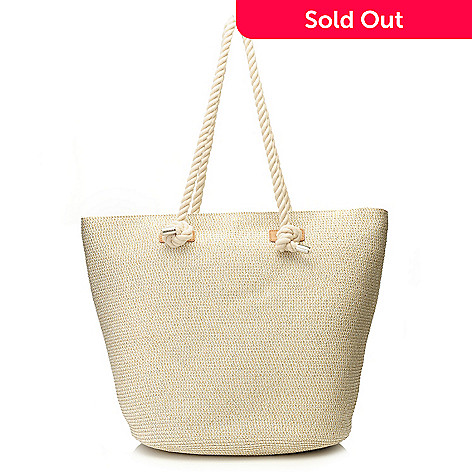 dc6c7281c7 Magid® Metallic Woven Straw Double Rope Handle Bucket Tote Bag on sale at  evine.com