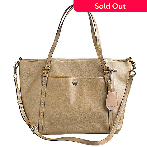 f2ded09a19 Coach Leather Double Handle Pocket Tote Bag w/ Shoulder Strap