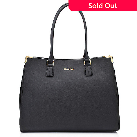 718 368 Calvin Klein Handbags Saffiano Leather North South Tote