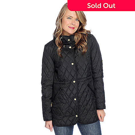 3ce98d779 Ellen Tracy Quilt Stitched Cinched Waist Snap Front Hooded Puffer Jacket