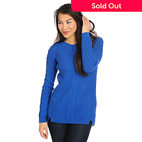 4b4f94bdcb OSO Casuals® 100% Cotton Knit Long Sleeved Cable Knit Detail Crew ...