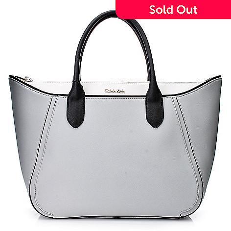 56e24c208a7 718-688- Calvin Klein Handbags Saffiano Leather Flared Tote