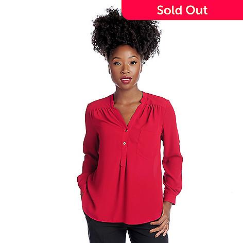 952d81c1f4479 719-239- Gramercy 22™ Chiffon Roll Tab Sleeved Half Placket Equipment Shirt