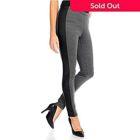 2de490f34e 719-283- Kate & Mallory® Knit Elastic Waist Faux Leather Panel Ankle  Leggings