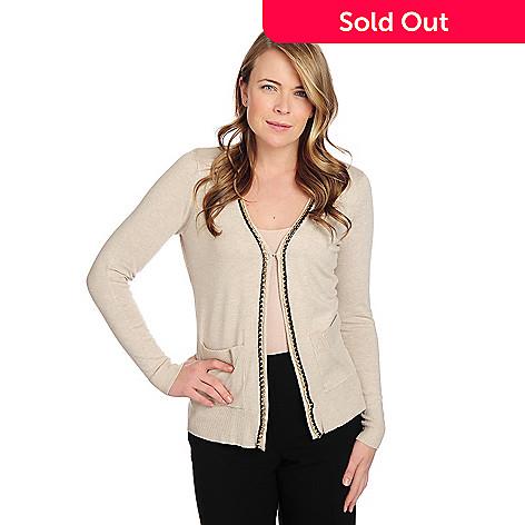 f563deed66294 719-324- Gramercy 22™ Fine Gauge Knit Long Sleeved Chain Detailed Cardigan  Sweater