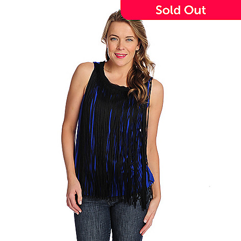 9146f69787ad78 WD.NY Knit Zip Back Fringed Front Tank Top - EVINE