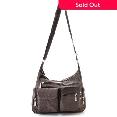 Baggallini Nylon Woven Multi Pocket Zip Top Crossbody Travel Bag