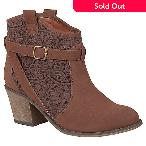 ac1727a24 720-953- Journee Collection Women's Faux Suede Crochet Detail Ankle Boots