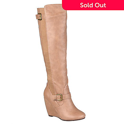 2b027e8f64c 720-959- Journee Collection Women s Faux Leather Knee-High Buckle Detail Wedge  Boots