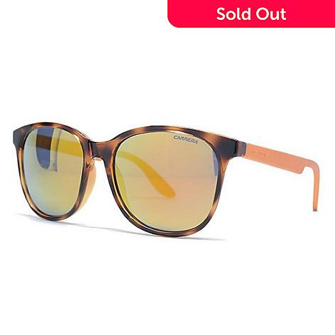 Carrera Gold-tone Lens Havana Round Frame Sunglasses w/ Case - EVINE