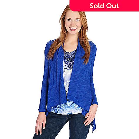 49ec5f18680 721-021- One World Printed Knit Flutter Sleeved Top & Slub Knit Cardigan Set