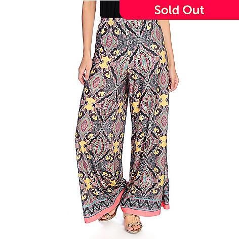 51eb16dbc61a 721-218- One World Printed Knit Elastic Waist Pull-on Palazzo Pants