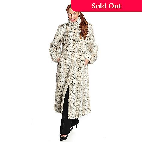 3080f5e5ce3bb 721-239- Pamela McCoy Faux Fur Stand Collar Full-Length Swing Coat
