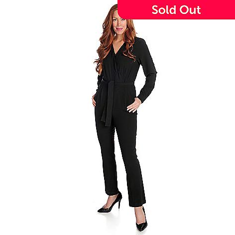 7b89c1197d5f 721-251- Pamela McCoy Woven Long Sleeved Faux Wrap Jumpsuit w  Tie