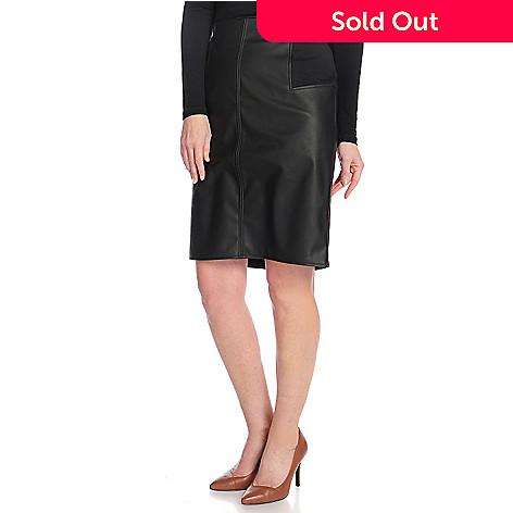 496562fa4911 Pamela McCoy Faux Leather Knit Side Panel Back Zip Knee-Length Skirt ...