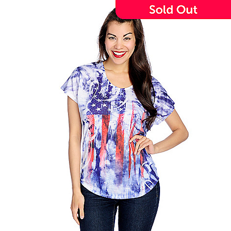 97e474272c0c44 721-932- One World Printed Knit Short Sleeve Bling Accented Americana  T-Shirt