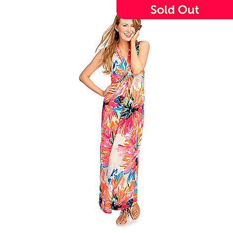 Kate Mallory Printed Knit Sleeveless Knotted Front V Neck Maxi