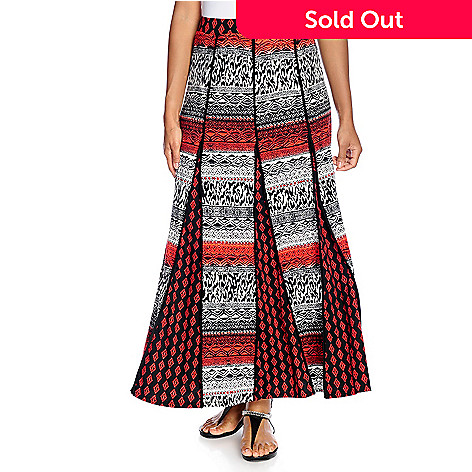 7f3c3c3a69 722-982- Kate & Mallory® Stretch Knit Elastic Waist Printed Godet Maxi Skirt