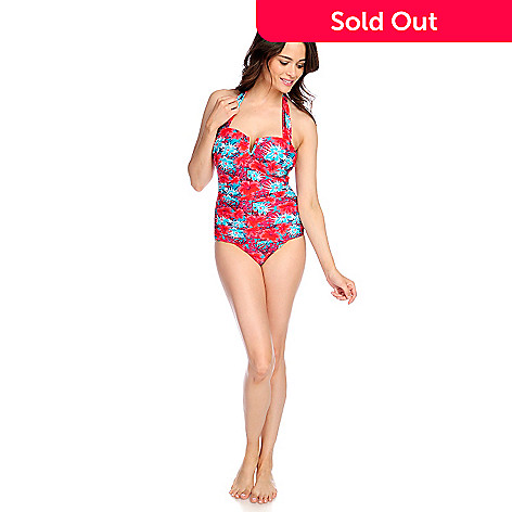 5d978857e42fe 723-026- Slimming Options Swim Knit Sweetheart Halter Neck One-Piece  Swimsuit