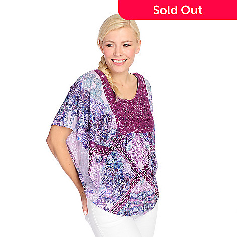 58bbb81ba45 723-092- One World Printed Knit Poncho Sleeve Lace Applique Embellished Top