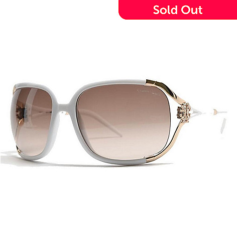 Roberto Cavalli White Square Framed Sunglasses w/ Case - EVINE