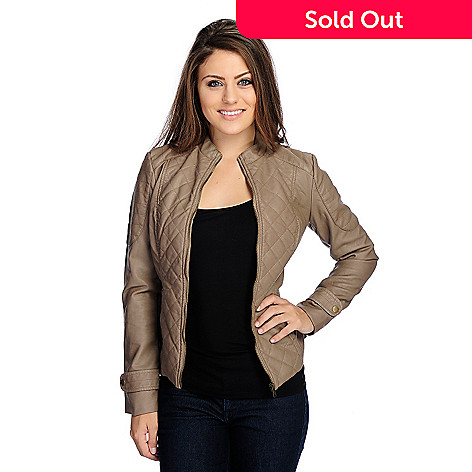 5aadce3e12c06f 723-690- OSO Casuals® Faux Leather Long Sleeved Quilted Detail Zip Front  Jacket