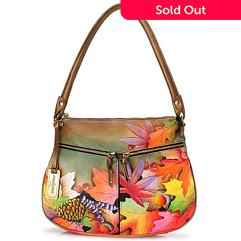 723 727 Chka Hand Painted Leather Zip Top Hobo Bag W Card